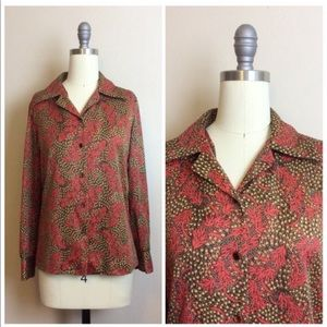 Vintage 1970s Red and Brown Floral Disco Shirt